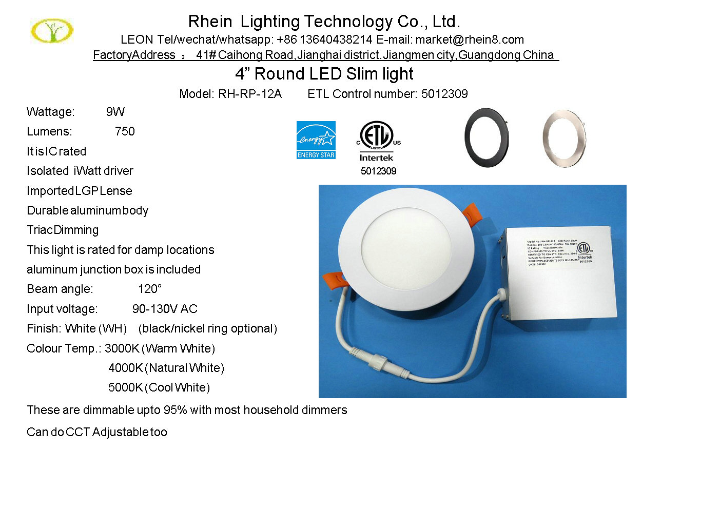 3 CCT led panel light 4 inch